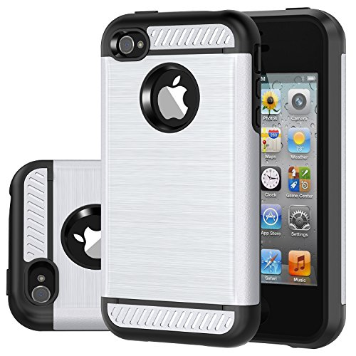 iPhone 4 Case, iPhone 4S Case, CHTech Brushed Metal Texture Series Hybrid Shockproof Protection Scratch Proof Armor Case Cover for Apple iPhone 4/4S - Silver (Best Iphone 4 Metal Case)