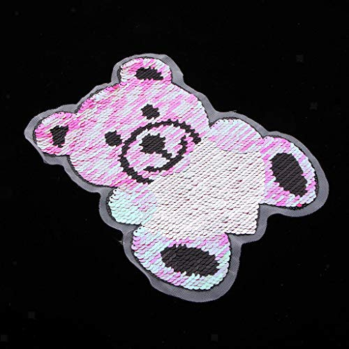 Bear Pattern Embroidered Glitter Sequin Sew on Applique Patches Fabric DIY