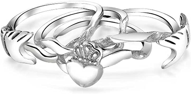 Sterling Silver 925 FRIENDSHIP HEART DESIGN SILVER PROMISE RING 11MM SIZES 4-11