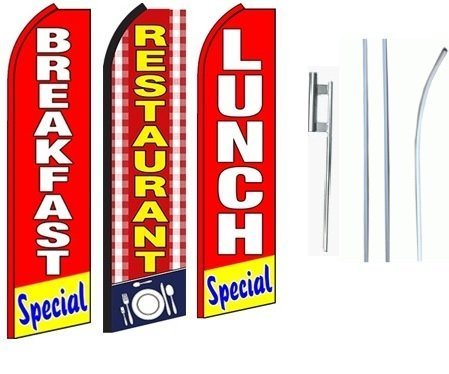 Restaurant, Breakfast and Lunch Special Standard Size Swooper Feather Flag Sign Pk of 3 with Full Assembly by Business Needs by Business Needs