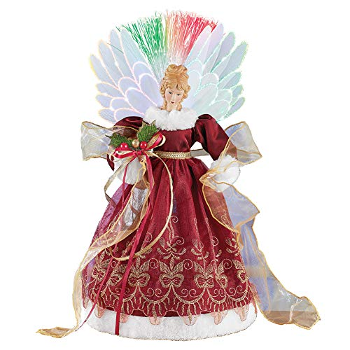 Collections Etc Fiber Optic Color Changing Angel Tabletop Decoration - Christmas Indoor Holiday Accent with Intricate Details