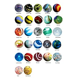22-25mm Glass Marble Collection of 27 Different Patterns