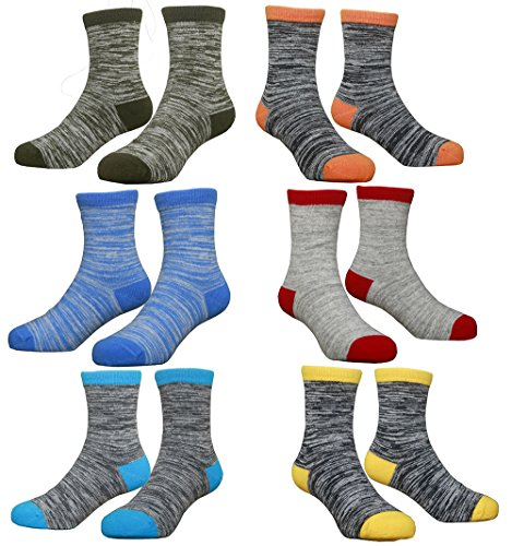 Hzcojulo (Hzcodelo) Little Kids Boys Fashion Cotton Crew Socks -BA-6 Pairs,L/Shoe size 12-3/7-11Years