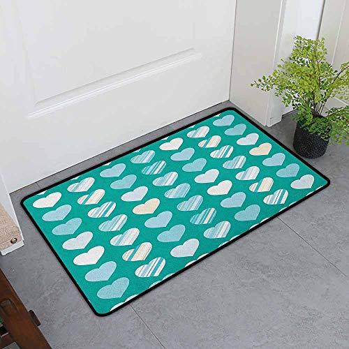 ONECUTE Crystal Velvet Doormat,Romance Heart Figures Love Valentines Famous Symbol Universal Symbol Design,Super Absorbs Mud,24
