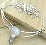 7.55ctw Genuine Rainbow Moonstone .925 Silver Overlay Handmade Fashion Necklace Jewelry
