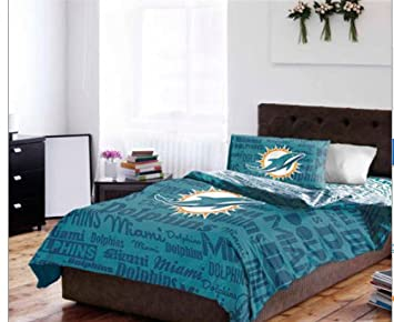 Miami Dolphins Nfl Full Comforter Sheet Set 5 Piece Bedding