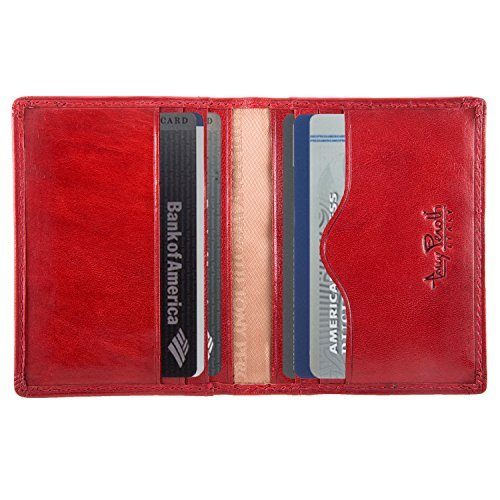 Men's Italian Bull Leather Thin Bifold Credit Card Holder Wallet (Italian Leather Business Card)