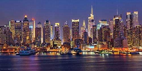 Culturenik New York City (NYC) Manhattan at Night Decorative Photography Print (Unframed 12x24 Poster)