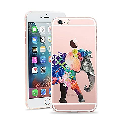 iPhone 6 Case, JICUIKE Lovely Animal Watercolor Print Transparent Silicone HD Ultra-Slim TPU Soft Shell Thin Back Cover Anti-Drop Bumper for apple iphone 6s 4.7 inch [Color (Iphone 6plus Disney Animal Cases)