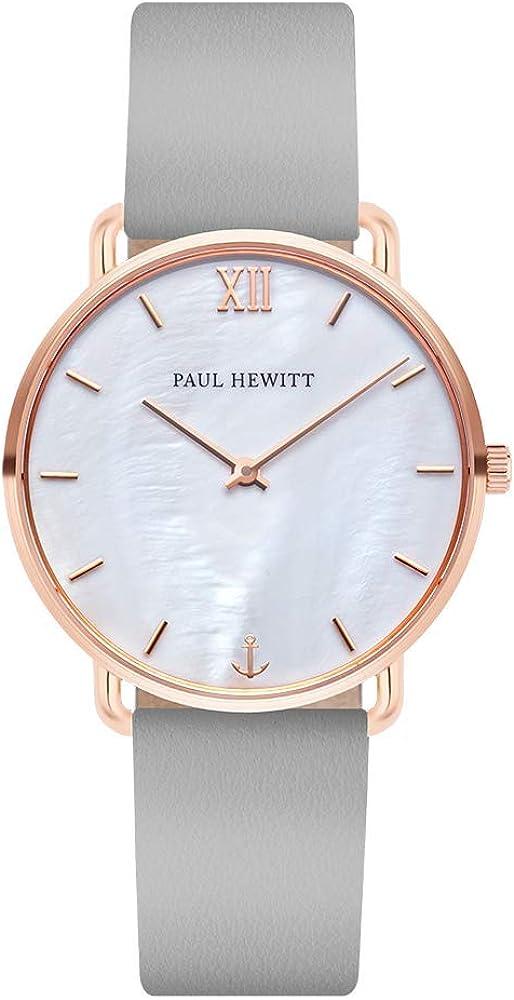 PAUL HEWITT Reloj de muñeca para Mujer en Acero Inoxidable Miss Ocean Pearl - Reloj de Pulsera de Cuero Color Gris Grafito, Reloj de muñeca para Mujer con Esfera perlada