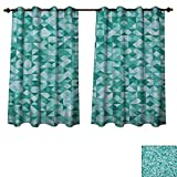 Teal Blackout Curtains Panels for Bedroom Triangle Mosaic with Polygon Shapes with Artistic Shadows Effect Illustration Print Decorative Curtains for Living Room Teal Green Size W72 xL84