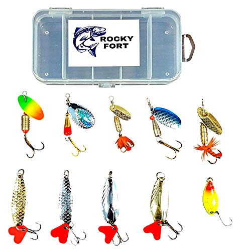 ROCKY FORT Fishing Lure Box Set with Colorful Spinner Baits and Metal Fishing Spoons ()