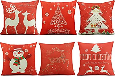 "HOSL SD39 Merry Christmas Series Blend Linen Throw Pillow Case Decorative Cushion Cover Pillowcase Square 18"" - Set of 6"