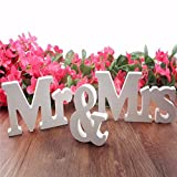 Gsha Mr & Mrs Wooden Letters Decorative Letters for Wedding Table Party Home Decor
