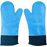 CalSunO Professional Silicone Oven Mitts Heat Resistant Commercial Grade Extra Long Quilted Cotton Lining Arm Guard- BBQ Grill Kitchen Versatile Insulated Potholder Comfortable Grip