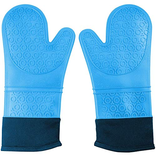 - CalSunO Professional Silicone Oven Mitts Heat Resistant Commercial Grade Extra Long Quilted Cotton Lining Arm Guard- BBQ Grill Kitchen Versatile Insulated Potholder Comfortable Grip