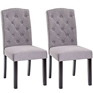 "Globe House Products GHP 2-Pcs 37""x17.6""x20.7"" Gray Fabric Sponge & Rubber Wood Armless Design Dining Chairs"