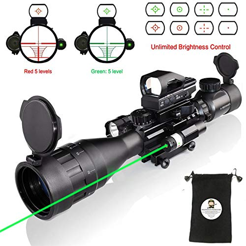 Rifle Scope Combo C4-16x50EG with Green Laser / 4 Holographic Red&Green Dot Sight (Best Ar 15 Scope For Hog Hunting)