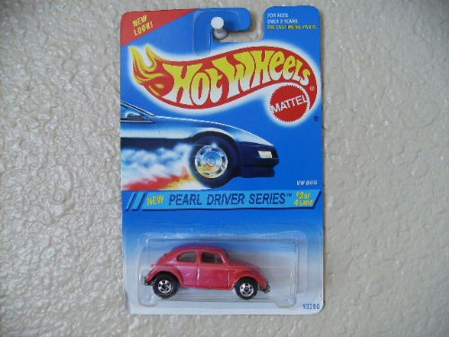 1995 Hot Wheels Pearl Driver Series VW Bug Pink With BW Wheels (Pearl Bug)