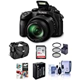 Panasonic Lumix DMC-FZ1000 Digital Camera - Bundle with 32GB Class 10 SDHC Card, Camera Holster Case, Spare Battery, 62mm Filter Kit, Cleaning Kit, Software Bundle