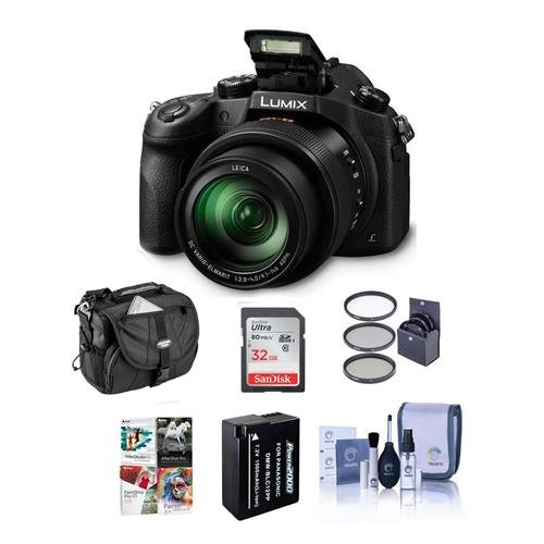 Panasonic Lumix DMC-FZ1000 Digital Camera – Bundle with 32GB Class 10 SDHC Card, Camera Holster Case, Spare Battery, 62mm Filter Kit, Cleaning Kit, Software Bundle For Sale