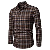 NUWFOR Men's Long Sleeve Lattice Plaid Painting Large Size Casual Top Blouse Shirts(Brown,L US Chest:44.1''
