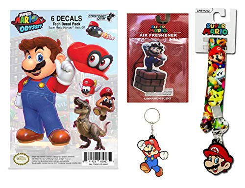 Super Mario Odyssey Gaming Decal, Key Chain, Air Freshenr and Lanyard Youth Gift Set (Super Mario Keychain Lanyard)