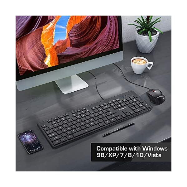 VicTsing Wired Keyboard and Mouse Combo, Full Size Whisper-Quiet USB Keyboard with Multimedia Keys and 3 DPI Adjustable…