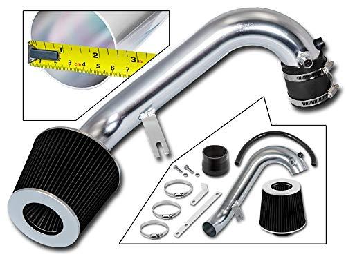 Rtunes Racing Short Ram Air Intake Kit + Filter Combo BLACK Compatible For 01-05 Honda Civic 1.7L