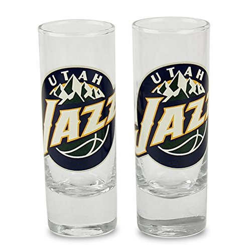 NBA Color Team Logo 2oz Cordial Shot Glass 2-Pack (Utah Jazz)