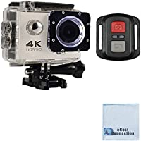 eCostConnection 4K Ultra HD 16MP WiFi Waterproof Sports Action Camera 2.0 (White) with Anti-Shake DSP and Wrist RF Remote + eCostConnection Microfiber Cloth
