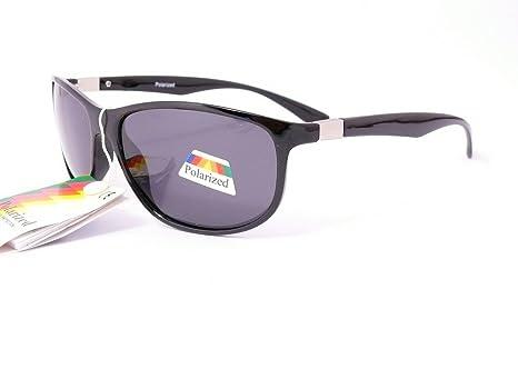 lunettes de soleil polarisantes polarisées verres polarisés homme femme 201253 (monture noir brillant verres gris, largeur:135mm hauteur:45mm)