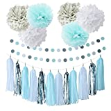Baby Blue White Grey Baby Boy Baby Shower/Party Paper Decorations First Birthday Boy Decorations Tissue Paper Pom Pom Tassel Garland Circle Paper Garland Elephant Baby Shower Decorations Boy