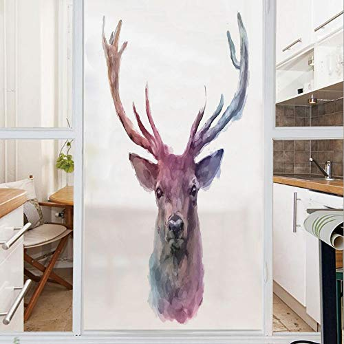 Decorative Window Film,No Glue Frosted Privacy Film,Stained Glass Door Film,Illustration of Male Stag with Soft Pale Colors Antlers Wildlife Nature Artful Print,for Home & Office,23.6In. by 78.7In Pin ()