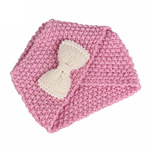 (Gbell Baby Girls Knitting Hat Toddler Caps, Beanie Turban Head Wrap Cap Pile Cap with Bows for Toddler Girls Kids Age 3-8 Years Old )