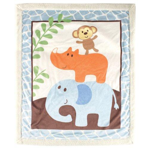 Luvable Friends Sherpa Blanket, Blue Safari (Animal Print Bedding Bedding)