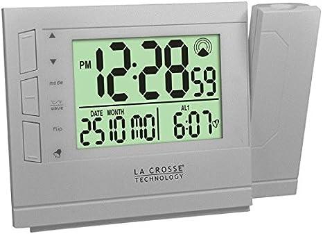La Crosse Technology WT519 Réveil radio piloté avec projection de l'heure Argent