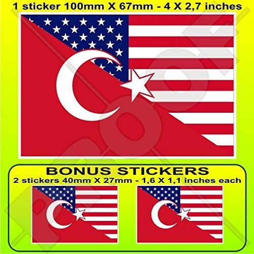 (USA United States of America & TURKEY American-Turkish Flag 4