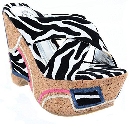 Sandali Zeppa Con Zeppa Patchwork Zebra
