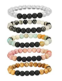 Thunaraz 5-6 Pcs Crystal Aromatherapy Diffuser Bracelet Women Girls Lava Stone Bead Bracelet Set 8MM Beads