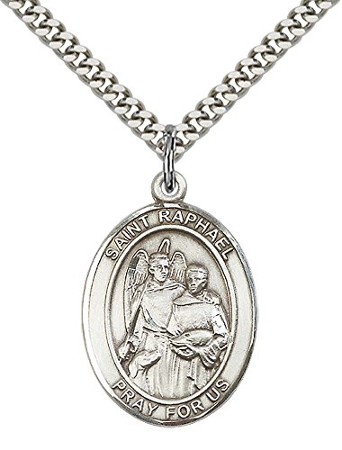 Heavy Sterling Pendant (Sterling Silver St. Raphael the Archangel Pendant with 24