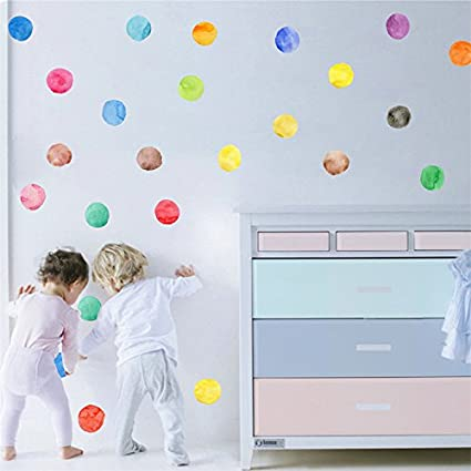 Amazon.com: Ferris Store 27pcs PVC Colorful Dots Wall Decor Decal ...