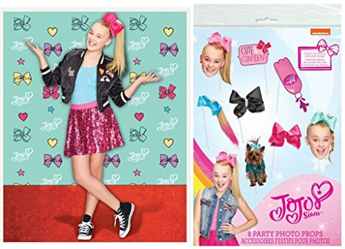 1 Piece Generic (JoJo Siwa Party Photo Booth Bundle 1 Backdrop and 1 8-Piece Booth Props)