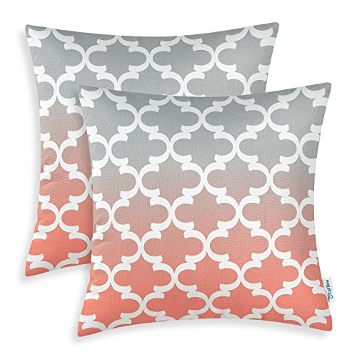 Pack of 2 CaliTime Canvas Throw Pillow Covers Cases for Couch Sofa Home Decor, Modern Gradient Quatrefoil Accent Geometric, 20 X 20 Inches, Gray/Coral Pink