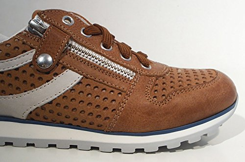Walk Safari Low Top Sneaker Leder Reißverschluss braun