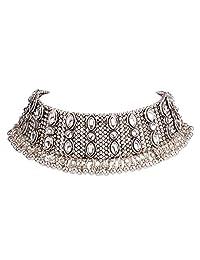 Luxury Lady women rhinestone small bells tassel wide neck chain necklace choker