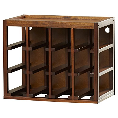 Bottle Cube Stack Wine Walnut Stain