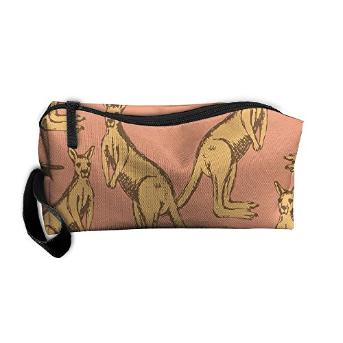 LogicPor Australia Kangaroo Vintage Portable Zipper Makeup Bag Travel Cosmetic Pouch Toiletries Bag Storage Bag Organize Stationery Pencil Holder Coin Purse Medicine Kit - To Times Australia Delivery Usps