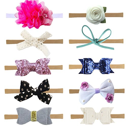 DANMY Baby Girl Rhinestone Crown Headbands Toddler Princess Headband Hair Accessories (Bow set1 (10pcs)) (Crown Petal Shape Flower)