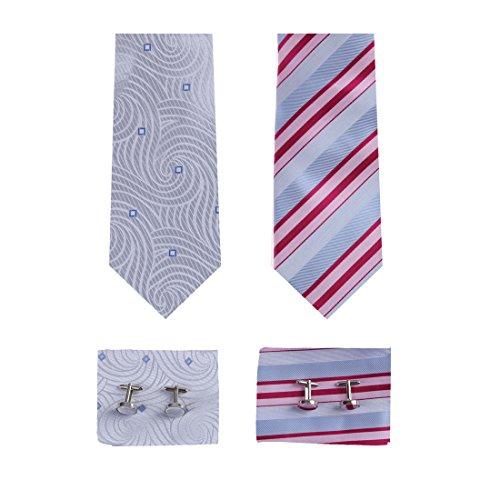 EATF0015 Multi-Colors Stripes Silk Set of 2 Ties Travel Gift For Men's Cufflinks Handkerchiefs Set By (Multi Stripe Cufflinks)